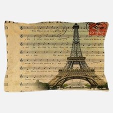 vintage music notes paris eiffel tower Pillow Case