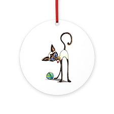 Siamese Yarn Thief Ornament (Round)