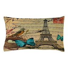 vintage bird nest butterfly paris eiff Pillow Case