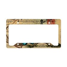 vintage bird nest butterfly p License Plate Holder