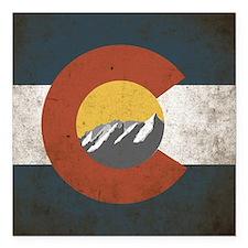"Colorado State Mountains Square Car Magnet 3"" x 3"""