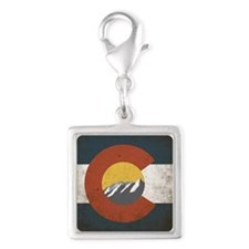Colorado State Mountains Silver Square Charm