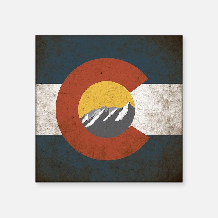 "Colorado State Mountains Square Sticker 3"" x 3"""