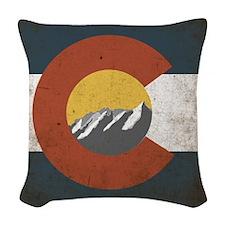 Colorado State Mountains Woven Throw Pillow