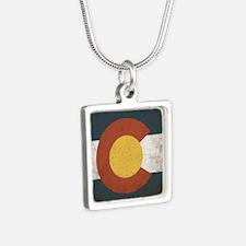 Colorado State Flag Silver Square Necklace