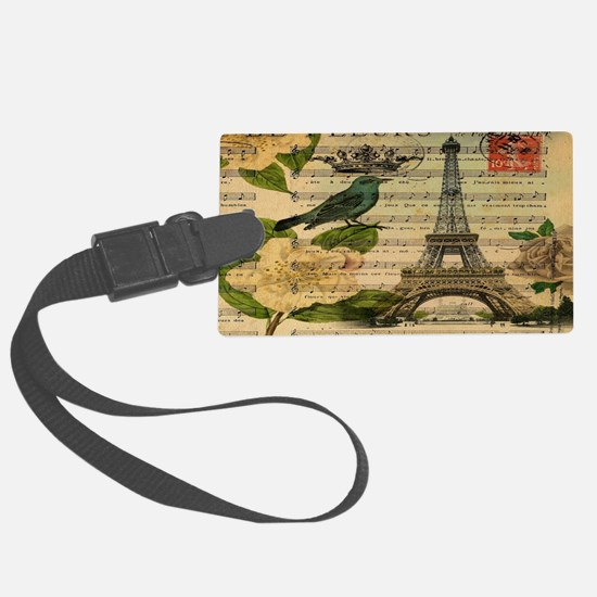 vintage bird nest butterfly pari Luggage Tag