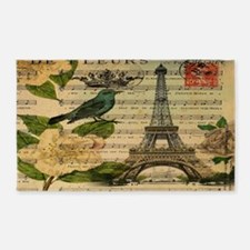 vintage bird nest butterfly paris e 3'x5' Area Rug