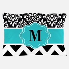 Black Teal Damask Chevron Monogram Pillow Case