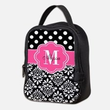 Black Pink Dots Damask Personalized Neoprene Lunch