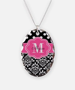 Black Pink Dots Damask Personalized Necklace