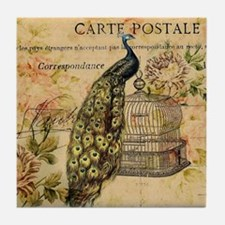 vintage peacock floral paris art Tile Coaster