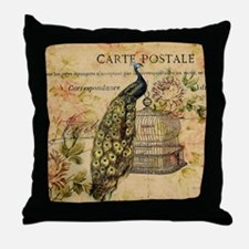 vintage peacock floral paris art Throw Pillow
