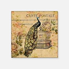 "vintage peacock floral pari Square Sticker 3"" x 3"""