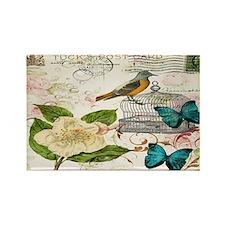 butterfly bird vintage paris flor Rectangle Magnet
