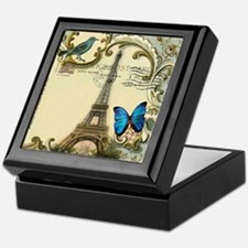 victorian blue butterfly  paris eiffe Keepsake Box