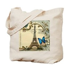 victorian blue butterfly  paris eiffel to Tote Bag