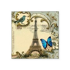 "victorian blue butterfly  p Square Sticker 3"" x 3"""