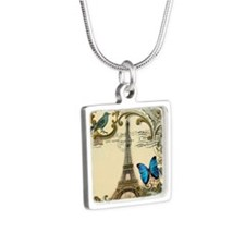 victorian blue butterfly   Silver Square Necklace