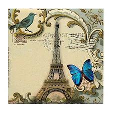 victorian blue butterfly  paris eiffe Tile Coaster
