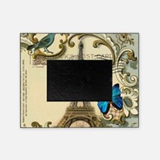 victorian blue butterfly  paris eiff Picture Frame