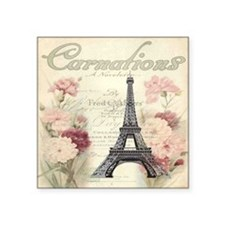 "carnation flower paris eiff Square Sticker 3"" x 3"""