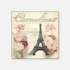 "carnation flower paris eiff Square Sticker 3"" x 3"""