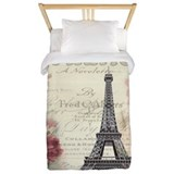 Carnation flower paris eiffel tower Twin Duvet Covers