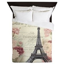 carnation flower paris eiffel tower la Queen Duvet