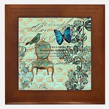 vintage jubilee butterfly floral botan Framed Tile