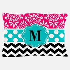 Pink Teal Chevron Monogram Pillow Case