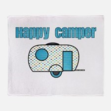 Happy Camper (Blue) Throw Blanket