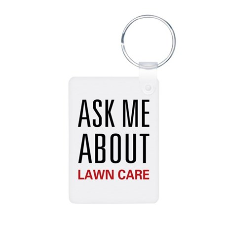 Ask Me About Lawn Care Aluminum Photo Keychain