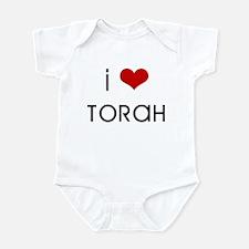 """""""I love Torah"""" (red heart) Infant Bodysuit"""