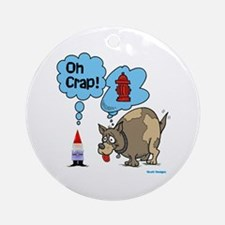 Gnome Visited by the Dog Ornament (Round)