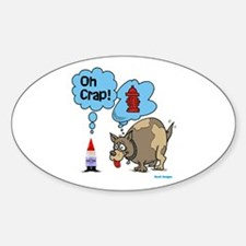 Gnome Visited by the Dog Oval Decal