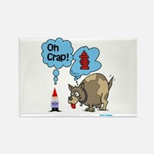 Gnome Visited by the Dog Rectangle Magnet