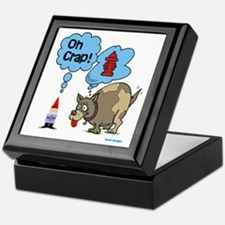 Gnome Visited by the Dog Keepsake Box