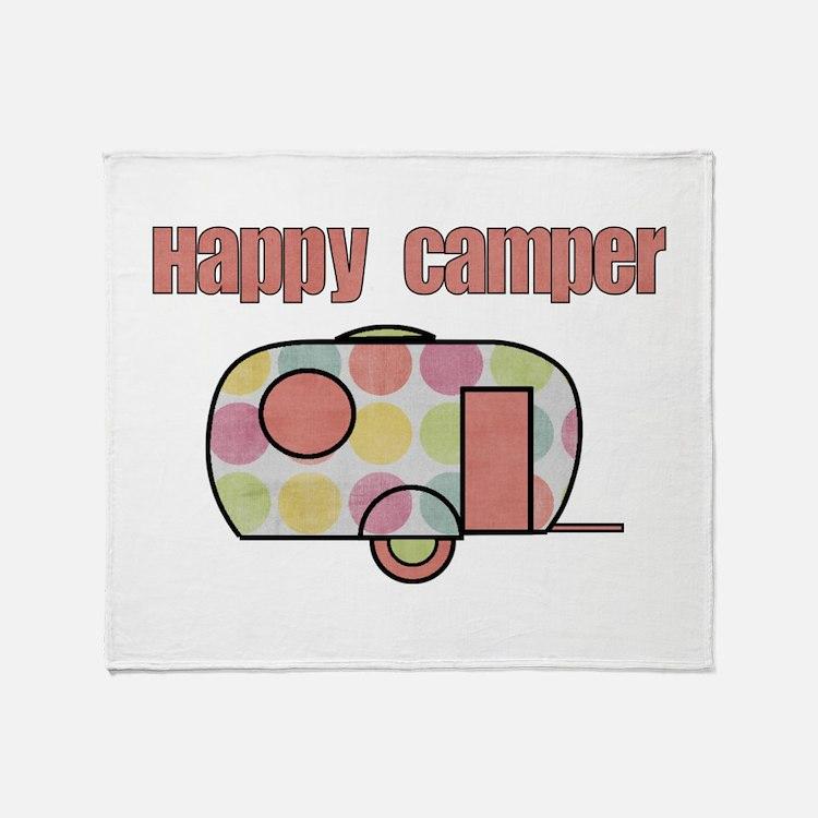 Happy Camper (Pinks) Throw Blanket