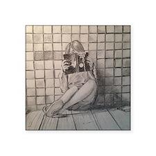 "Girl Reading Square Sticker 3"" x 3"""