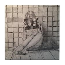 Girl Reading Tile Coaster