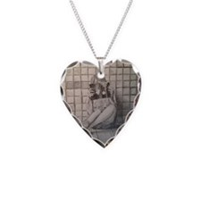 Girl Reading Necklace Heart Charm