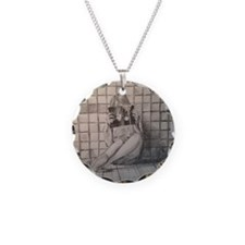 Girl Reading Necklace Circle Charm