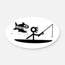 Kayak Fishing Oval Car Magnet