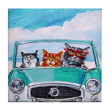 3 Cats In A Nash Metro Tile Coaster