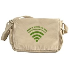 home is where the wifi - green Messenger Bag