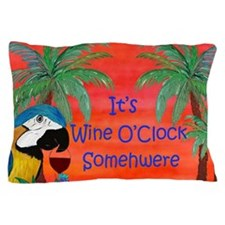 Wine Time Parrot Rug Pillow Case