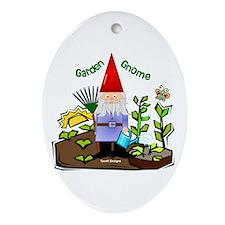 Garden Gnome Oval Ornament