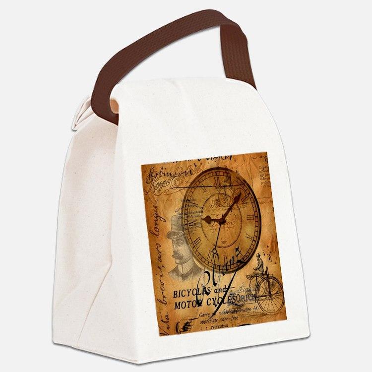 distressed vintage clock scripts  Canvas Lunch Bag