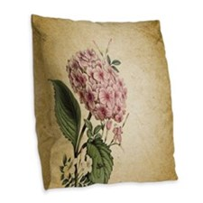 paris hydrangea  french botani Burlap Throw Pillow