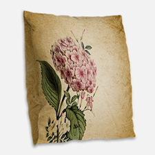 paris hydrangea  french botani Burlap Throw Pillow